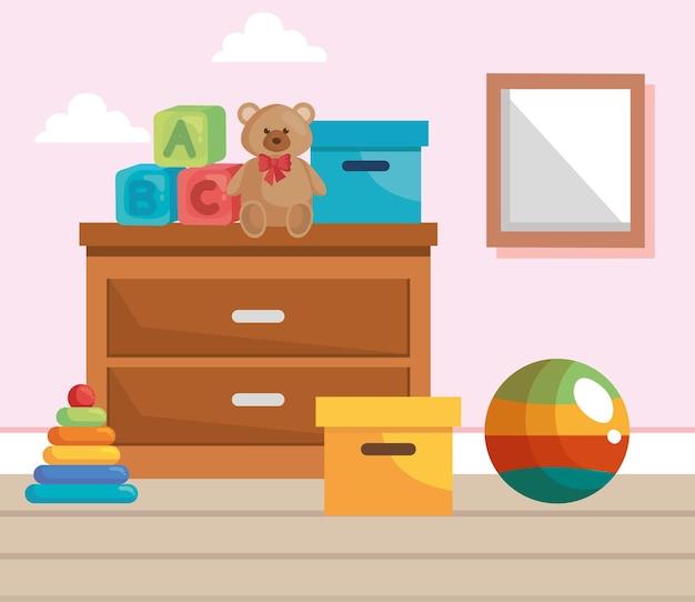 Quarto de bebê com brinquedos