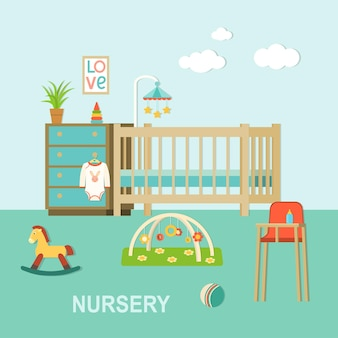 Quarto de bebê com mobília. interior do berçário. ilustração em vetor estilo plano.