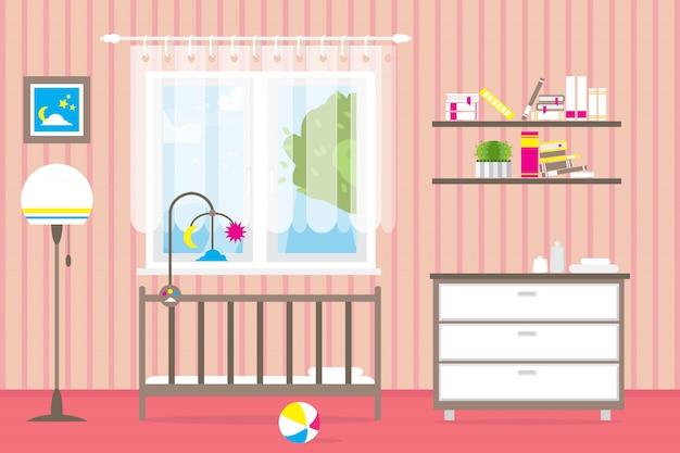 Quarto de bebê com móveis. interior do berçário. janela.