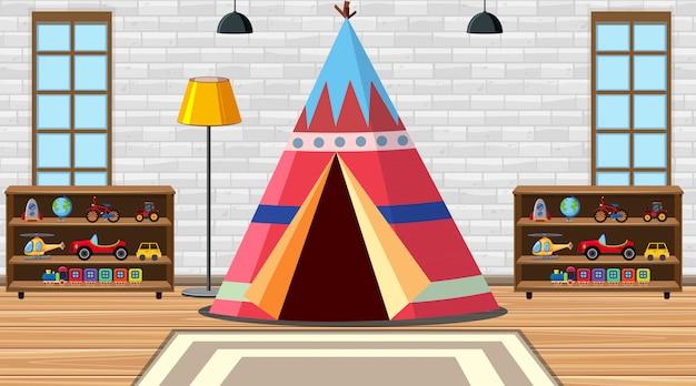 Quarto de crianças com tenda e brinquedos