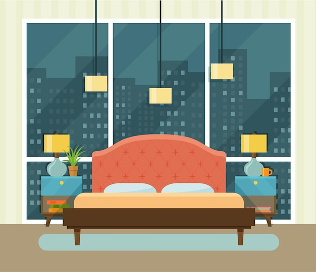 Quarto de espaço interior com cama perto de uma janela. ilustração em vetor plana