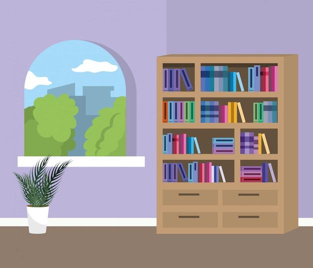 Quarto de estudo em casa com design de livros