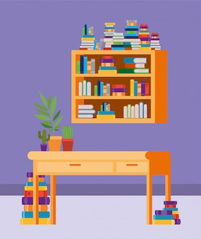 Quarto de estudo em casa com livros