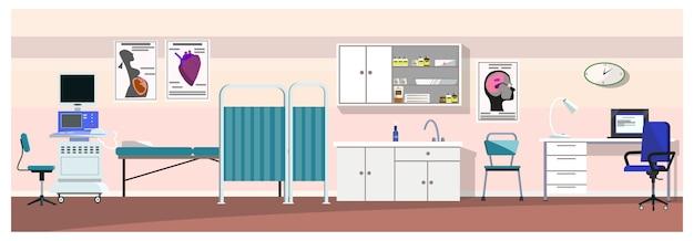 Quarto de hospital com ilustração de scanner de ultra-som