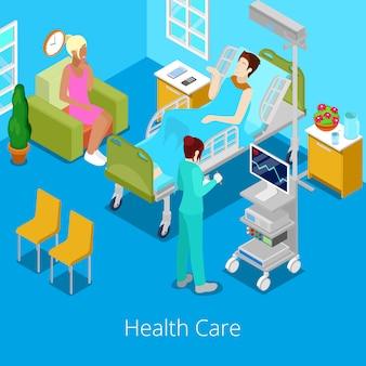 Quarto de hospital isométrico com paciente e enfermeira.