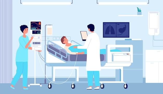 Quarto de hospital. paciente na cama, médico enfermeiro com conta-gotas dando atendimento médico. ilustração em vetor clínica plana terapia intensiva tratamento. diagnóstico de cuidados médicos, operação e exame