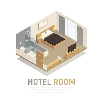 Quarto de hotel com móveis claros, televisão e área de banho com composição isométrica de chuveiro e vaso sanitário