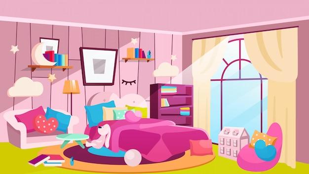Quarto de meninas na ilustração plana durante o dia. quarto espaçoso com cama, estantes e gravuras na parede. interior de casa feminina com sofá rosa, poltrona, cobertor. lâmpadas decorativas em forma de nuvem