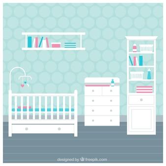 Quarto do bebê com móveis brancos