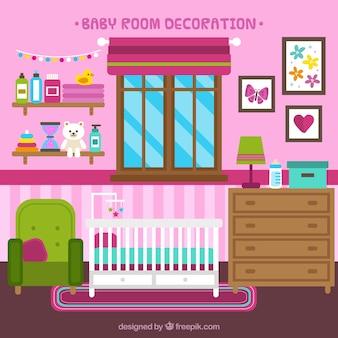 Quarto do bebê plano com parede rosa