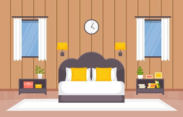 Quarto dormitório cama design de interiores casa moderna ilustração