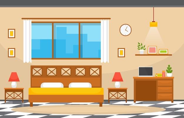 Quarto dormitório cama design de interiores moderno hotel ilustração de apartamento