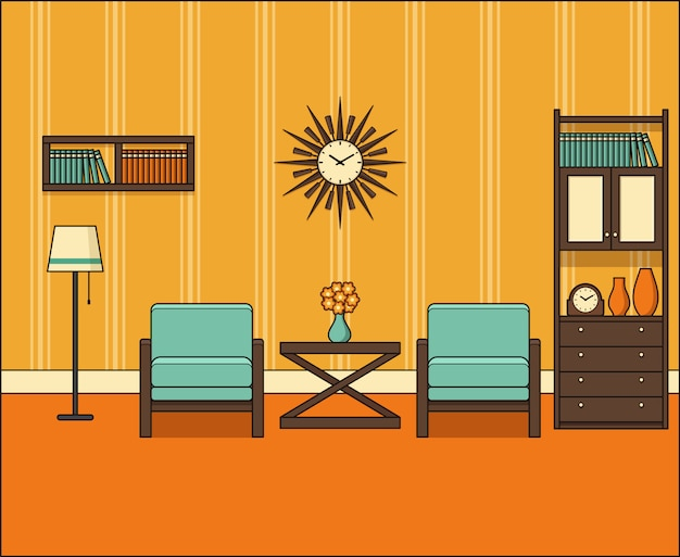 Quarto em apartamento. sala de estar retrô interior s na linha arte. gráficos. ilustração linear. linha fina vintage espaço em casa com móveis. 0s do equipamento da casa. 0s de fundo.