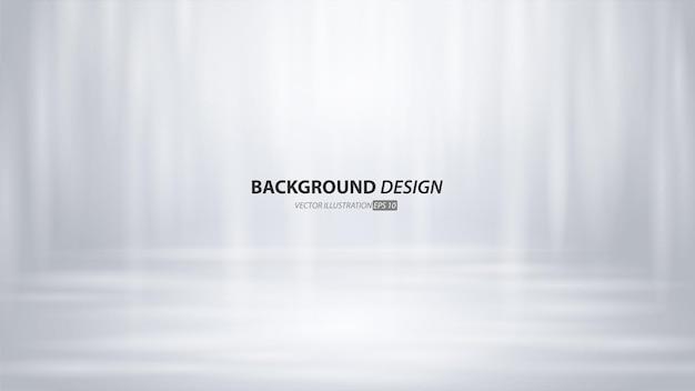 Quarto estúdio cinza vazio e fundo claro. exibição do produto com espaço de cópia para exibição do design de conteúdo. banner para anunciar o produto no site. Vetor Premium