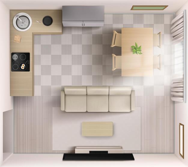 Quarto estúdio com vista superior, sofá, tv e mesa de centro