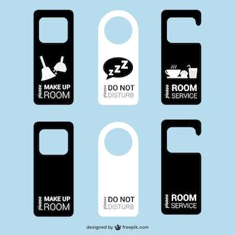 Quarto etiquetas porta do hotel vetor