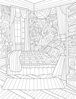 Quarto incolor desenho de linhas com cama grande, janelas abertas, mesa lateral, cortinas compridas, quarto com