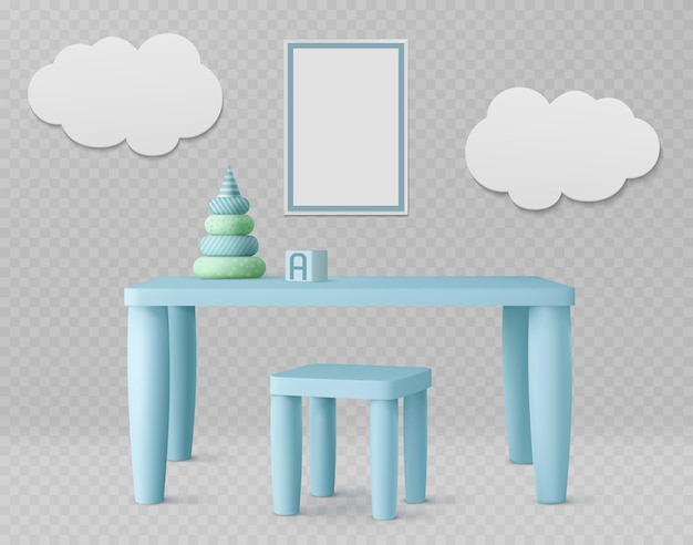 Quarto infantil com mesa infantil, cadeira, pôster branco e nuvens na parede
