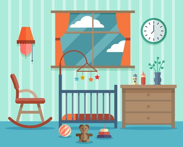 Quarto infantil para o bebê recém-nascido. cadeira de balanço, design de infância.