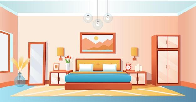 Quarto interior aconchegante com cama guarda-roupa mesas de cabeceira relógio despertador espelhado lustres de vaso desenho animado