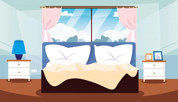 Quarto interior com cama e decoração