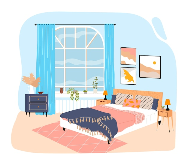 Quarto interior da casa, quarto com cama grande, cobertor e travesseiros, desenho de ilustração em estilo cartoon, isolado no branco. grande janela, pinturas da moda na parede, peitoril da janela de vasos de plantas verdes.