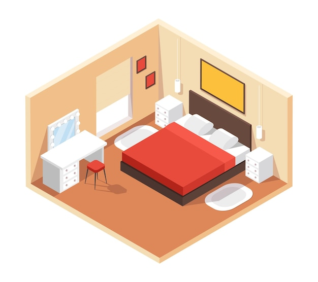 Quarto isométrico interior moderno e aconchegante com móveis, cama, mesa, espelho, pinturas, interior 3d