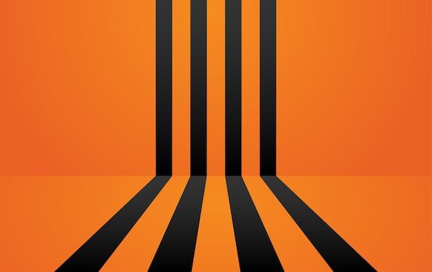 Quarto laranja com fundo de linhas pretas