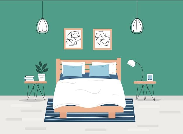 Quarto moderno com mobília, abajures de mesa e fotos carpete interior minimalista