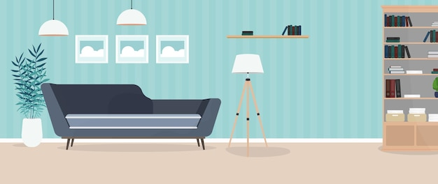 Quarto moderno e bem iluminado. sala com sofá, armário, abajur, quadros. mobília. interior. .