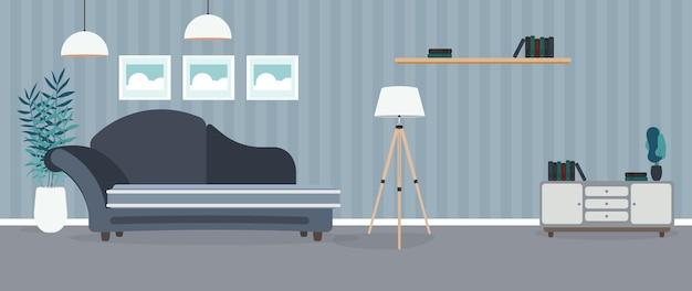 Quarto moderno. sala com sofá, armário, abajur, quadros.