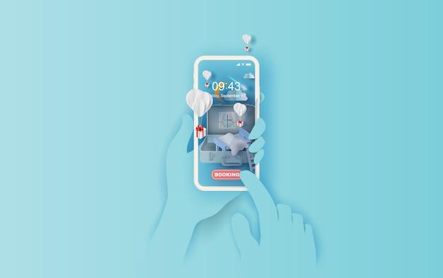 Quarto na mala conceito de mão de smartphone