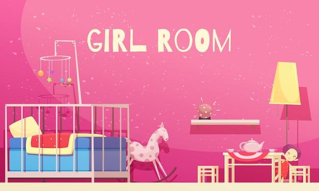 Quarto para menina com ilustração de paredes rosa