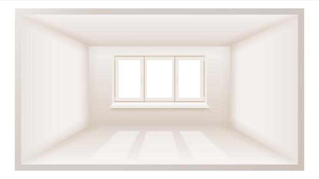 Quarto vazio com janela 3d