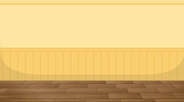 Quarto vazio com piso em parquet e papel de parede amarelo
