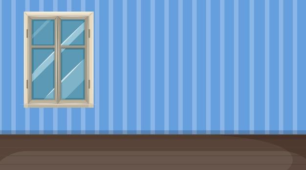 Quarto vazio com piso em parquet e papel de parede listrado de azul