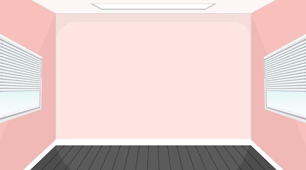 Quarto vazio com piso preto e paredes rosa