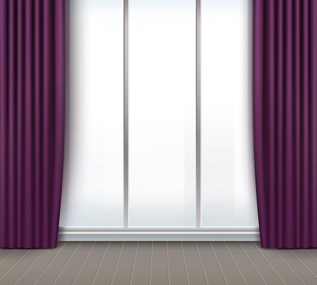 Quarto vazio de vetor com janela grande e cortinas roxas e violetas