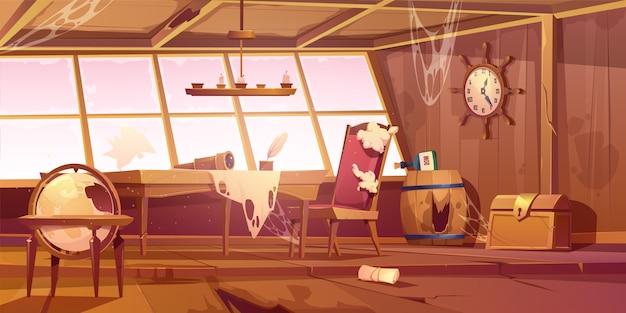 Quarto velho abandonado vazio do navio de pirata