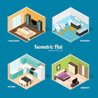 Quartos internos da casa em vista isométrica