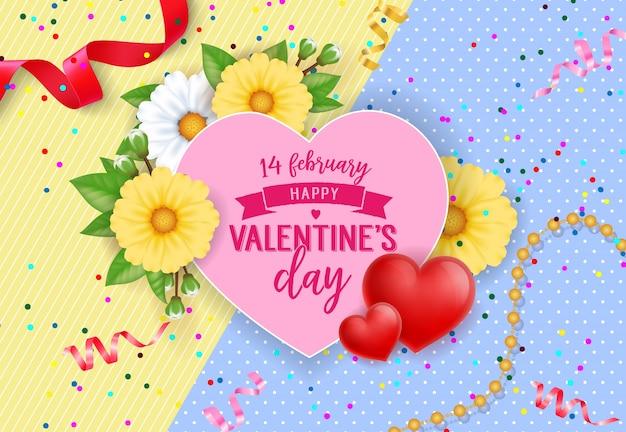 Quatorze fevereiro rotulagem em cor-de-rosa