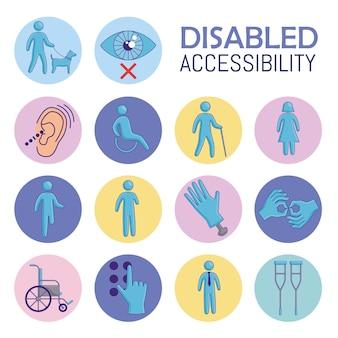 Quatorze ícones de acessibilidade desativados