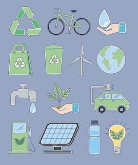 Quatorze ícones de ecologia