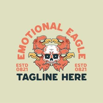 Quatro águia e ilustração do crânio estilo retro para camiseta