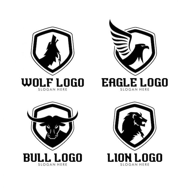 Quatro animais silvestres silhueta moderna limpa logo