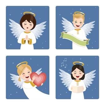 Quatro anjos engraçados em um céu escuro com fundo de estrelas.