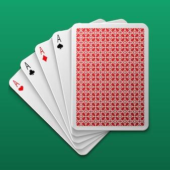 Quatro, ases, pôquer, cartão jogando, ligado, tabela jogo