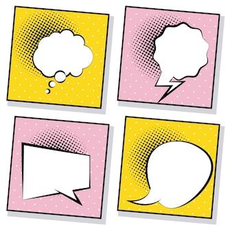 Quatro balões de fala retrô desenhados em estilo pop art em fundos rosa e amarelos.