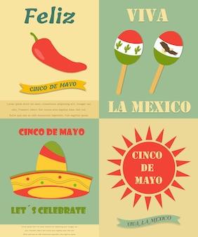 Quatro banners vintage com símbolos diferentes para o feriado de cinco de mayo