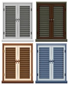 Quatro caixilhos de janela em diferentes cores